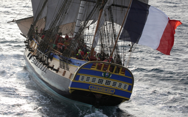 FRANCE - BELLE ILE EN MER - Hermione Ship at sea in Atlantic during her test before crossing the Atlantic to USA in April 2015.